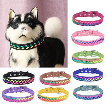 Faux Leather Colorful Collars Pet Dog Cat Puppy Buckle Adjustable Decor