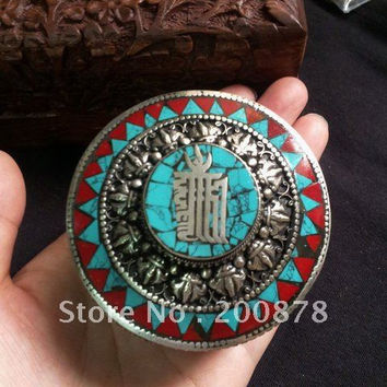 TJB930  Tibetan silver small lovely colorful jewelry box,62*47mm,metal inlaid turquoise coral,Tibetan antiqued handicrafts