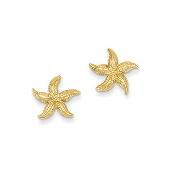 13mm Polished Textured Starfish Post Earrings in 14k Yellow Gold