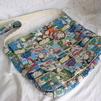 Family Guy Canvas Lined Messenger Bag, Large with 3 inside pockets, licensed fabric.