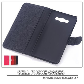 dhl free shipping litchi grain PU Leather cell phone case for samsung galaxy A7 mobile phone wallet case for samsung phones