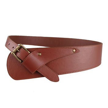Buckle Leather Girdle Belt