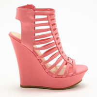 PINK STRAPPY CUT OUT WEDGES