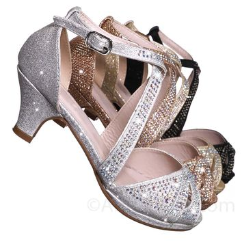 Fantastic Children Girl Bling High Block Heel Dress Sandal, Rhinestone Glitter