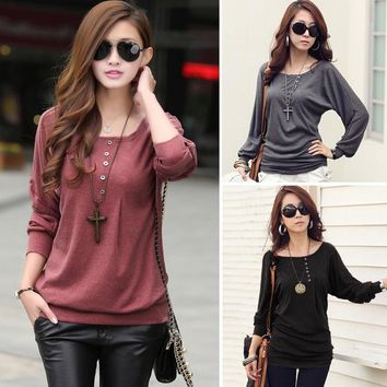 Fashion Women's Long Sleeve Dolman Loose T-Shirt Blouse Top Batwing Tops F_F