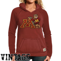 Original Retro Brand Minnesota Golden Gophers Ladies Two-Toned V-Neck Hooded Sweatshirt - Maroon