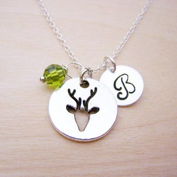 Deer Charm Necklace -  Swarovski Birthstone Initial Personalized Sterling Silver Necklace / Gift for Her - Deer Necklace - Reindeer Charm