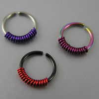 Colorful Wire Wrapped Coil Cartilage Hoops 18g 20g Black Red Rainbow Purple Pink Bendable Earrings Helix Gauge Ear Piercing Jewelry Set