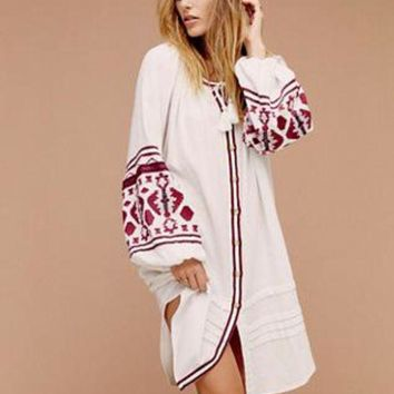 ONETOW Free People' Fashion Boho Puff Sleeve Retro Ethnic Embroidery Buttons Cardigan Long Sleeve Coat Dress
