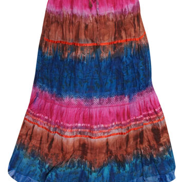 Womens Skirts Pink Blue Tie Dye Peasant Maxi Long Skirt