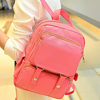 Fashion New Women Double Shoulder Bag Packsack PU Leather Backpack Bag Shool Bag Computer Bag Casual Bag Candy Color