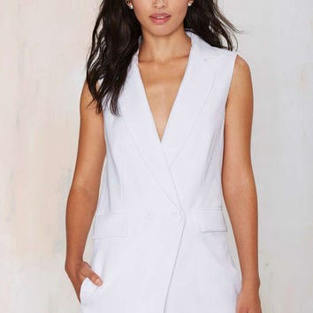 White V-Neck Sleeveless Pocket Romper
