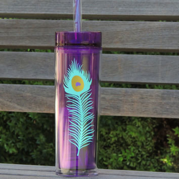 peacock feather, acrylic tumbler, skinny tumbler, personalized tumbler, 16 oz cup, plastic cup, stocking stuffer, peacock feather cup