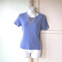 French Blue Knit Shell; Women's Medium Short-Sleeve Casual All-Season Blue Cotton Top; U.S. Shipping Included