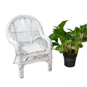 Wicker Chair Plant Stand Wicker Chair Planter White Wicker Chair Miniature Wicker Chair Boho Chair Wicker Doll Chair
