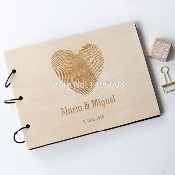 Custom wedding guest book wood rustic wedding guest book