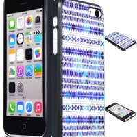 Bastex Snap On Case for iPhone 5C, 5th Generation - Blue & White Chevron Tribal Aztec Hard Shell