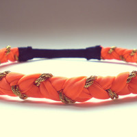 Neon Orange and Gold Braided Headband Halloween Hippie headband Womens Hair Accessories
