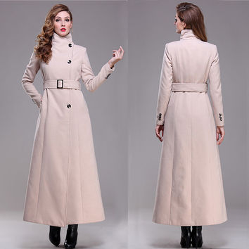 casaco Plus size good quality 2016 brand new autumn winter overcoat warm elegent long maxi wool coat women fashion winter coat