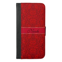 Holiday Red Lace Personalized Wallet Case