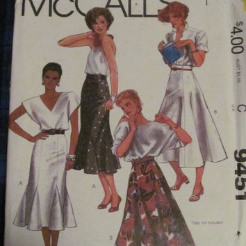 SALE Uncut 1980's McCall's Sewing Pattern, 9451! Size 16 Medium/Large, Women's/Misses, Long Swing Style Skirts, Summer/Spring/Fall/Gore/Flar