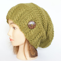 100% Wool olive green hand knit slouchy beanie hat