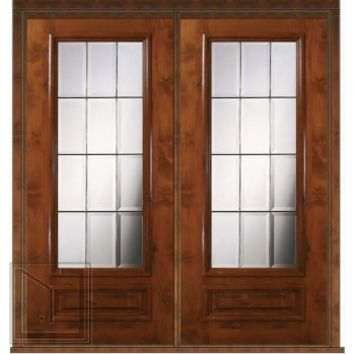 Prehung French Double Door 80 Wood Alder French 3/4 Lite Glass