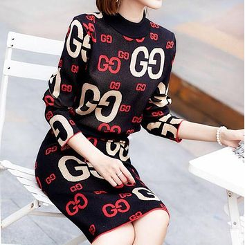 GUCCI Autumn And Winter Fashion New More Letter Knit Long Sleeve Top Sweater And Skirt Two Piece Suit Black