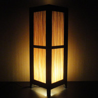 15'' Tall Asian Oriental Japanese Bamboo Art Decor Bedside Table or Floor Lamp or Bedside Paper Light Shades Furniture Home Decor