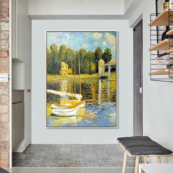 Claude Monet Canvas Oil painting On Canvas sailing Boat Lake painting Wall Art Pictures for Living room home Dining Room decor canvas
