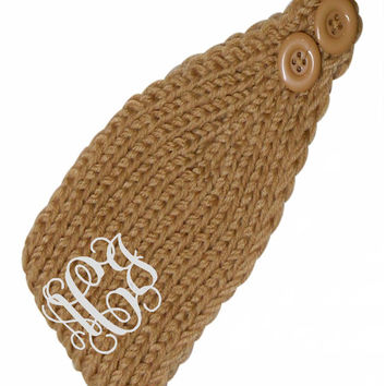 Monogrammed Knit/ Crochet Headband Earwarmer