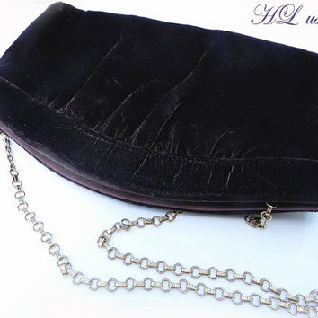 Vintage Signed Harry Levine HL USA Purse//Brown Velvet Shoulder//Clutch//Bag