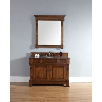 "James Martin Brookfield 48"" Single Vanity And Mirror Set In Country Oak"