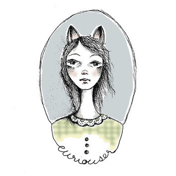 Cat Girl Curiouser Girl Portrait Illustration Fine Art Print Home Decor Wall Art Surreal Art Illustrated Print