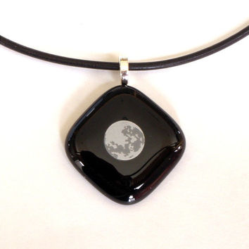 Moon Fused Glass Pendant Necklace on Black by GreenhouseGlassworks