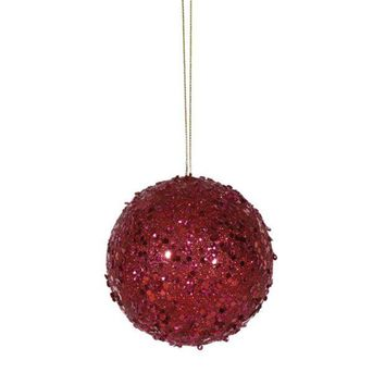MDIGMS9 Fancy Deep Red Holographic Glitter Drenched Christmas Ball Ornament 3'
