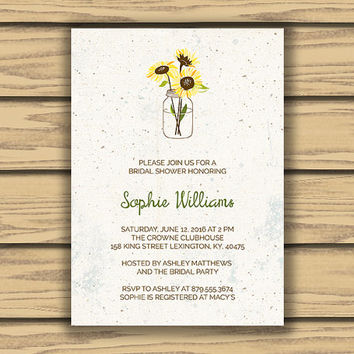 Rustic Bridal Shower Invitation, 5x7 Inch, Mason Jar Art, Sunflower Art, Vintage Style, Classy, Bride to Be, Bridal, Wedding