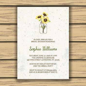Rustic Bridal Shower Invitation 5x7 Inch Mason Jar Art Sunflower Vintage