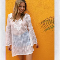 SEA SHORES BELL SLEEVE COVER UP= WHT CROCHET