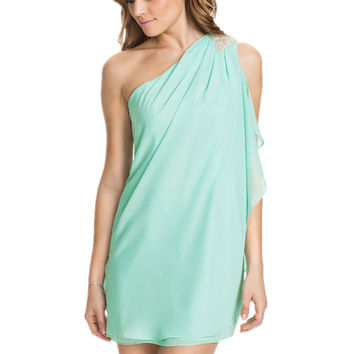 Mint Green Asymmetrical One-Shoulder Chiffon Mini Dress