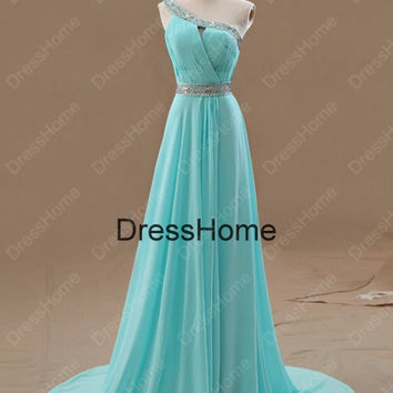 One-shoulder Blue Prom Dress - Blue Prom Dresses / Tiffany Evening Dress / Blue Evening Dresses / Wedding party Dress