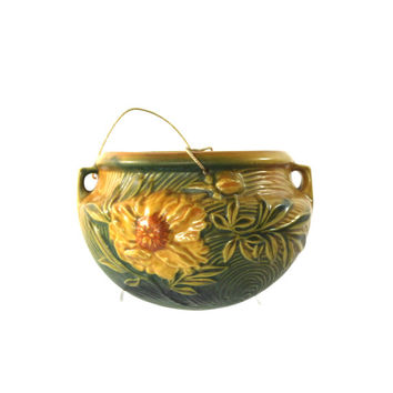 1930s Sunflower Hanging Planter by Roseville Pottery