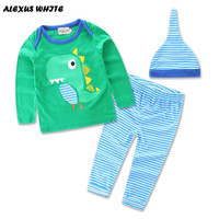 2017 new quality 3PCS!!Toddler Baby Boy Girl Clothes Dinosaurs Long Sleeve Cotton Green Tops T-Shirt+Stripe Pants Hat Outfit Se