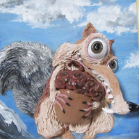 3D wall picture, Ice Age, funny squirrel and sloth, Polymer clay, handmade, Scrat and Sid, Funny gift