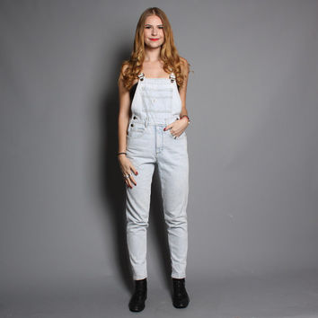 80s DENIM OVERALLS / Guess Stone Wash Tapered Jumpsuit, xs