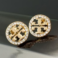 """Tory Burch"" Stylish Women Delicate And Cabinet Diamond Round Stud Earring Jewelry I12091-1"