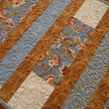 Quilted Table Runner in Blue and Brown, Blue Floral Table Runner, Modern Traditional Table Runner, Quilted Table Topper
