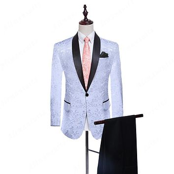 Shawl Lapel Groom Tuxedos 2017 Groomsman Suit Custom Made Man Suit 3 color Homecoming Suit as Wedding suit (Jacket+pants)