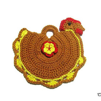 Brown and Yellow crochet hen potholder, handmade potholder, presina marrone e gialla a forma di gallina ad uncinetto