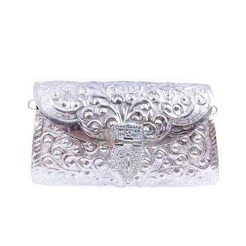 Antique Silver Brass Metal Hard Case Clutch with Etched Detail